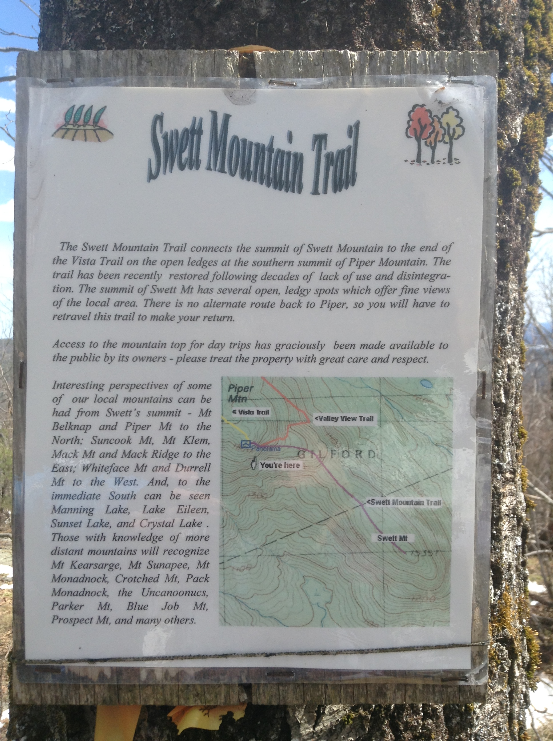 Swett Mtn trail sign